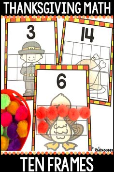 Thanksgiving Math Center: Ten and Twenty Frames Kindergarten Thanksgiving, Thanksgiving Preschool, Thanksgiving Turkey, Phonics Lessons, Kindergarten Lessons, Numbers Preschool, Math Numbers, Division Math Games, Dimensional Shapes