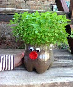 20 Easy Summer Crafts for Kids - FaveCrafts - Modern Design Plastic Bottle Planter, Plastic Bottle Crafts, Recycle Plastic Bottles, Kids Crafts, Summer Crafts For Kids, Diy And Crafts, Kids Garden Crafts, Chia Pet, Plants In Bottles