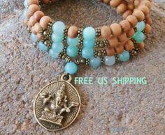 Confidence 108 Hemimorphite Ganesha Sandalwood Prayer Mala wrap,  Necklace or wrap bracelet, Reiki Charged, free shipping