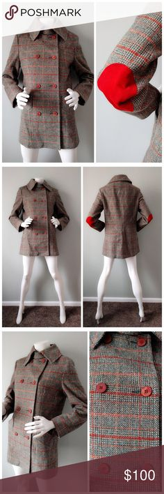 """VTG Tweed SHERLOCK Elbow Patch PEACOAT M L An amazingly chic, vintage wool tweed jacket from Devon Hall. Forest green and sienna orange tweed with red faux suede elbow patches. Two side pockets. Completely lined.  Whimsical classic styling perfect for modern J Crew girls.  In excellent vintage condition (9.9/10). No stains or snags. Some buttons missing surface paint but adds to character of coat. Comes from smoke-free home.  SIZE: Labeled vintage 12. BUST: 39"""". SHOULDER: 16.5"""". SLEEVE: 23""""…"""