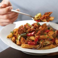 Princes Mackerel and Roast Vegetable Pasta - use a tin of ratatouille instead of vegetables