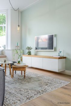 Floating Tv bench topped with wood tv meubel Ikea Jaren 30 woning Woonkamer makeover Haarlem ©BintiHome Living Room Colors, Home Living Room, Living Room Designs, Living Room Decor, Living Spaces, Pastel Living Room, Apartment Living, Blue Walls, White Walls