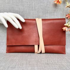 Rust brown leather envelope clutch. Leather wrap clutch. Luxury gift women