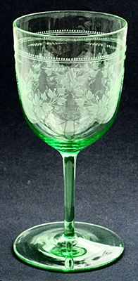 Etched wine glass - unknown maker.