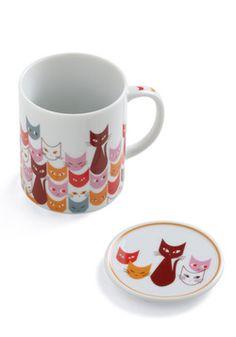 """Get in Fe-line"" mug from Mod Cloth. I love this design! I love cats! I love this mug! :)"