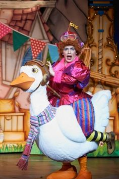 Paul Nivison plays Mother Goose in Eden Court panto. The costume had to be so bright to attract attention, the makeup was often bold and daring, although plays have changed slightly that it's more about the acting, this more laid back play/panto is iconic to the genre