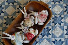 Patchwork bunny pincushions