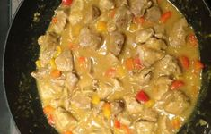 Sautéed pork with Colombo: pepper red pepper colombo powder flour sausage Lunch Recipes, Meat Recipes, Asian Recipes, Pork Sausage Recipes, Curry, Vegetarian Lunch, Caribbean Recipes, Main Meals, Food Inspiration