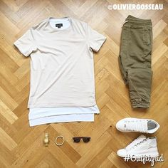 Today's top #outfitgrid is by @oliviergosseau. ▫️#Zanerobe #Tee ▫️#Cos #Shirt ▫️#Zara #Joggers ▫️#Balenciaga #Arenas