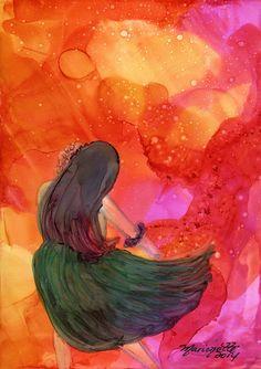 Magical Hula Girl 2 Original Alcohol Inks on Yupo by kauaiartist, $35.00