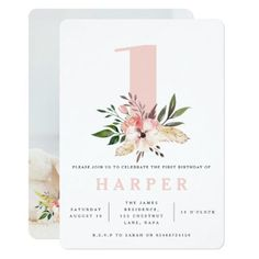 Shop floral pink birthday party photo invitation created by COFFEE_AND_PAPER_CO. 1st Birthday Photos, Pink Birthday, Girl First Birthday, First Birthday Parties, Birthday Party Themes, Birthday Ideas, Flower Birthday, Birthday Stuff, Birthday Decorations