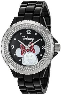 Disney Women's 'Minnie Mouse' Quartz Metal and Alloy Watch, Color:Black (Model: Cute Watches, Watches For Men, Wrist Watches, Minnie Mouse Watch, Disney Jewelry, Black Models, Disney Outfits, Fashion Watches, Watch Bands