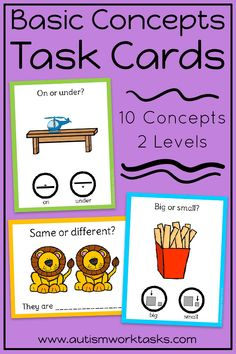 """These task cards are perfect to practice basic concepts in special education classrooms or speech therapy. These """"any time"""" activities are also great independent work tasks in autism classrooms! Two levels provide visual supports and practice with both receptive and expressive answers. Can be used with clothespins or dry erase markers for independent work that also targets fine motor skills and writing!"""