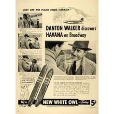 White Owl Danton Walker smoking original print ad 1977
