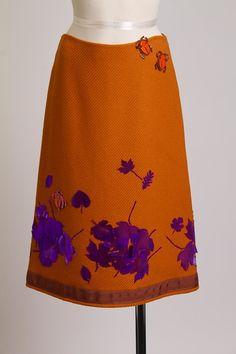 LOVE LOVE LOVE   Vintage Orange Prada Skirt with Beetles & Leaf Detail