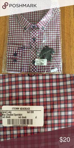NWT Jared Lang Mens sportshirt XL NWT red checkered, model number KALI 036 Jared Lang Shirts Casual Button Down Shirts