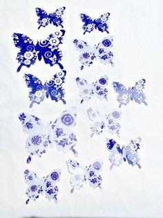 3D Wanddekoration, Wallsticker, Schmetterlinge, blau, Plastik, S2
