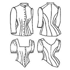 This photo shows the difference that the Cuirass Bodice made. It elongated and contoured the body; resembled the fit of medieval moody armor. (Cuirass bodice below the first sketch)