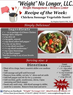 Wednesday's Weekly Recipe: An Ideal Protein friendly Chicken Sausage Veggie Sauté! #Recipes #IdealProtein #weightnolongerllc #friendlyforallphases #healthy