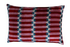 Ikat Pillows, Pillow Fabric, Ikat Fabric, Velvet Pillows, Patchwork Cushion, Cotton Velvet, Vintage Decor, Red And Blue, Hand Weaving