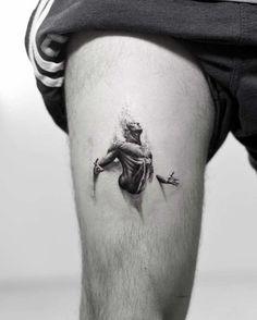 By alessandro capozzi tattoo thigh tattoo men, tattoo designs, tattoos. Neue Tattoos, Body Art Tattoos, Sleeve Tattoos, Tattoo Drawings, Arabic Tattoos, Amazing 3d Tattoos, Cool Tattoos, Tatoos, Diy Tattoo