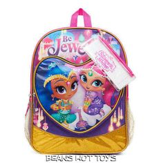 Shimmer and Shine Backpack 2 Side Mesh Pockets, Pencil Pouch & Sticker Sheet NEW #FAB