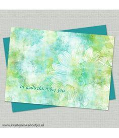 In gedachten bij jou aquarel bloem lime en teal