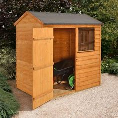 6x4 Overlap Wooden Shed With Reverse Roof - Home Delivered With Assembly, 5013053137710