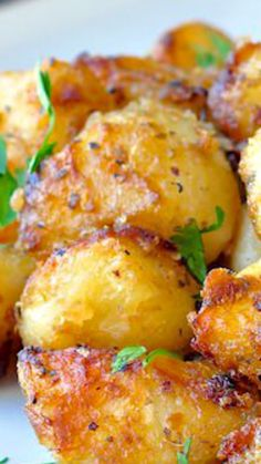 #vegan Lemon Herb Roasted Potato Nuggets ~ crispy flavour in every bite... a terrific side dish