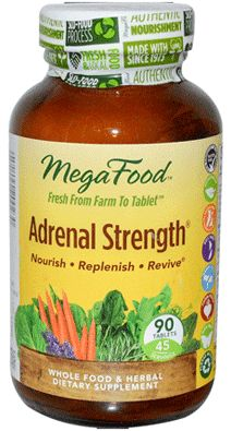 Adrenal Strength by MegaFood (Adrenal Gland Support Supplement). Nourishes and Supports Healthy Adrenal Function Naturally . Increase resistance to fatigue, stress and tension. Promotes emotional well-being. Ingredients to help strengthen immune health. Available at ProHealth.com ($62.37) #ProHealth