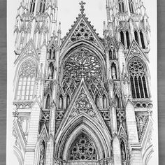 Patrick's Cathedral. Internal and External Architecture Drawings. Sketchbook Architecture, Gothic Architecture Drawing, Cathedral Architecture, Ancient Greek Architecture, Architecture Drawings, Concept Architecture, Architecture Details, India Architecture, Library Architecture