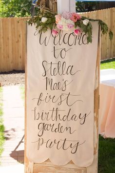 Trendy Baby First Birthday Themes Diy Bunny Birthday, Baby Girl 1st Birthday, Garden Birthday, Birthday Diy, Party Garden, 1st Birthday Girl Party Ideas, 80th Birthday Party Decorations, Outdoor Birthday, Garden Parties