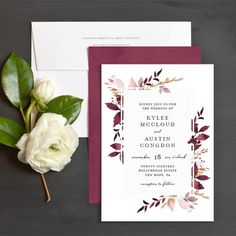 Leafy Frame Wedding Invitations by Emily Crawford | Elli