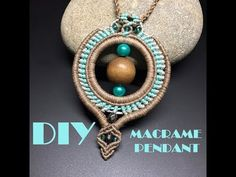 DIY MACRAME PENDANT/ TRIBAL PENDANT - YouTube Collar Macrame, Macrame Colar, Macrame Necklace, Macrame Knots, Macrame Bracelets, Diy Macrame, Macrame Projects, Loom Bracelets, Macrame Earrings Tutorial