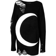 Killstar Gothic Unisex Luna Witch Wiccan Occult Moon Goth Distressed... ($62) ❤ liked on Polyvore featuring tops, sweaters, unisex tops, ripped sweater, goth top, gothic sweaters and unisex sweaters