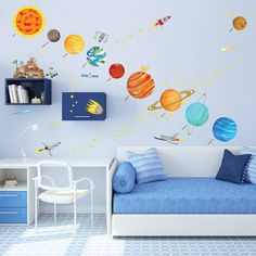 Space themed wall decals - Kids solar system wall stickers