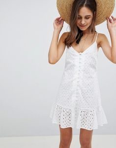 online shopping for ASOS Cami Button Through Broderie Mini Sundress Ruffle Hem from top store. See new offer for ASOS Cami Button Through Broderie Mini Sundress Ruffle Hem Day Dresses, Cute Dresses, Casual Dresses, Short Dresses, Summer Dresses, Woman Dresses, High Street Fashion, White Fashion, Urban Fashion