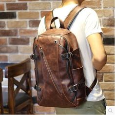 Interior Slot Pocket Cotton Man Bags 2015 Leather Design Backpack Vintage Travel Backpacks Bagpack Bolsos