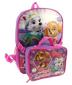 Nickelodeon Paw Patrol Backpack with Lunchbag Combo with Skye and Everest