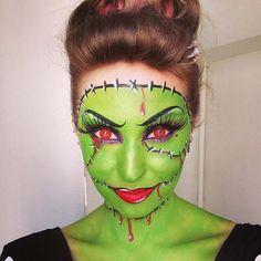Frankenstein Halloween Makeup Idea for Women