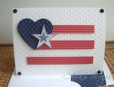 handmade card for the 4th of July ...clean and simple ... red, white and blue ... evokes the flag but isn't a flag ...