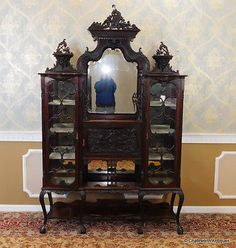 Antique-Edwardian-Carved-Mahogany-Etagere-Vitrine-Cabinet-c1900