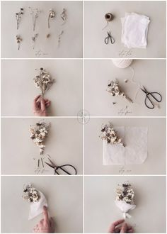 How To Make Mini Dried Flower Bouquets – Adored Vintage Paper Flowers Diy, Flower Crafts, Flower Bouquet Diy, Creative Gift Wrapping, Diy Gift Box, Diy Crafts For Gifts, Drawing Flowers, Painting Flowers, Floral Arrangements
