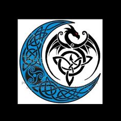 tribal dragon- triple goddess on a Celtic moon tatty idea I put together :)