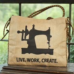 """""""Make Do and Mend"""" Sewing Machine Burlap Tote Burlap Tote, Make Do And Mend, Burlap Crafts, Reusable Tote Bags, Sewing, Dressmaking, Couture, Stitching, Sew"""
