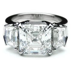 Large Asscher Cut Diamond Engagement Ring Cadillac Side Stones ES897ACWG