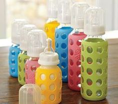LifeFactory Baby Bottles  Made from glass and surrounded with a silicone sleeve for slip resistance.  Available in 4&9oz Bottles