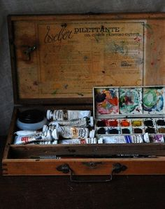 wasbella102:  Old paint box with watercolor and gouache by wondertrading ♥♥