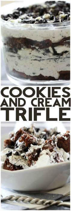 Cookies and Cream Trifle from chef-in- .This recipe is jam packed with chocolatey and creamy goodness that will completely WOW your company! Brownie Desserts, Trifle Desserts, Just Desserts, Dessert Recipes, Oreo Trifle, Chocolate Trifle, Oreo Cheesecake, Chocolate Cream, Dessert Trifles