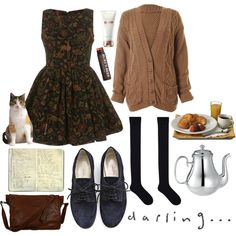 There is tea. There is a cat. There is a dress. There are socks. All is perfect.